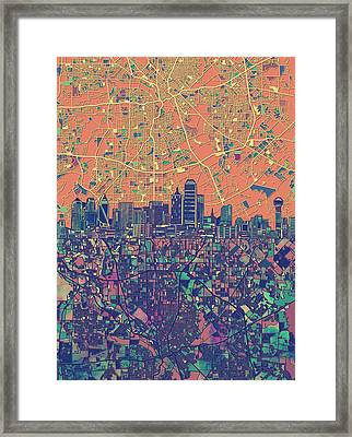 Dallas Skyline Map Orange Framed Print