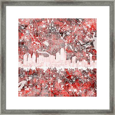 Dallas Skyline Map Red 2 Framed Print