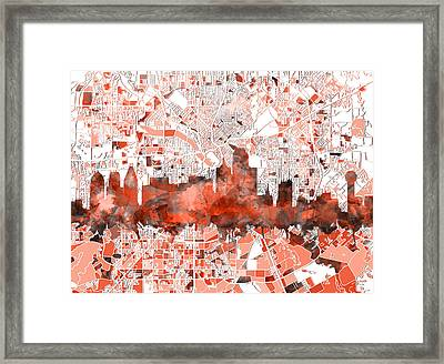 Dallas Skyline Map Red Framed Print