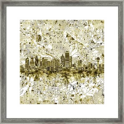 Dallas Skyline Map Sepia 2 Framed Print
