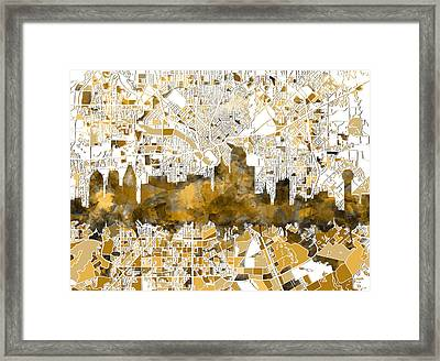Dallas Skyline Map Sepia Framed Print