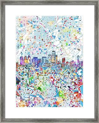 Dallas Skyline Map White 2 Framed Print