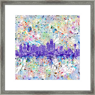 Dallas Skyline Map White 3 Framed Print