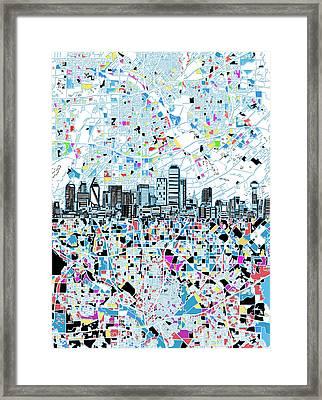 Dallas Skyline Map White Framed Print
