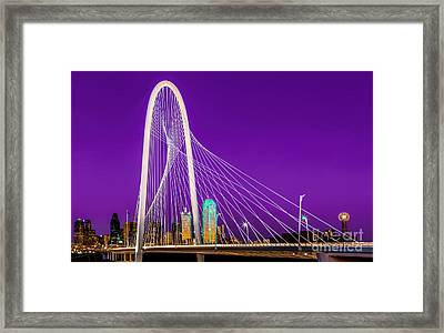 Dallas Skyline Purple Framed Print