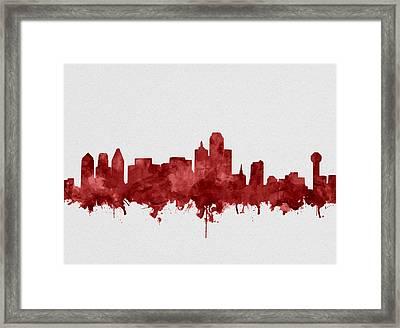 Dallas Skyline Red Framed Print