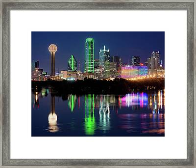 Dallas Skyline Reflection 91317 Framed Print