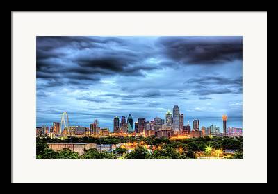 Dallas Skyline Framed Prints