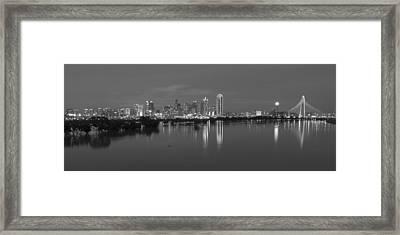 Dallas Skyline Trinity Black And White Framed Print