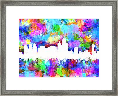 Dallas Skyline Vibrant Colors Framed Print
