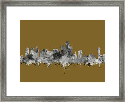 Dallas Skyline Watercolor 2 Framed Print