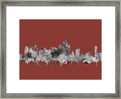 Dallas Skyline Watercolor 3 Framed Print