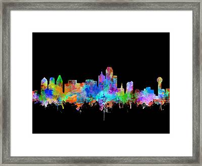 Dallas Skyline Watercolor 5 Framed Print