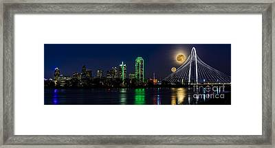Dallas Skyline With The Strawberry Moon In Panorama Framed Print by Tamyra Ayles