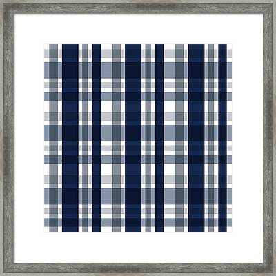 Dallas Sports Fan Navy Blue Silver Plaid Striped Framed Print by Shelley Neff