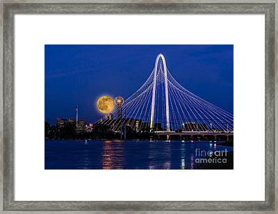 Dallas Strawberry Moon At Twilght Framed Print by Tamyra Ayles