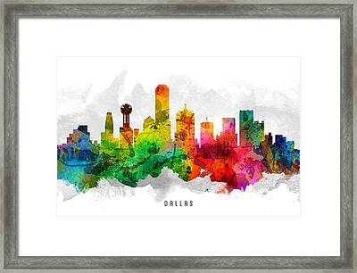 Dallas Texas Cityscape 12 Framed Print by Aged Pixel