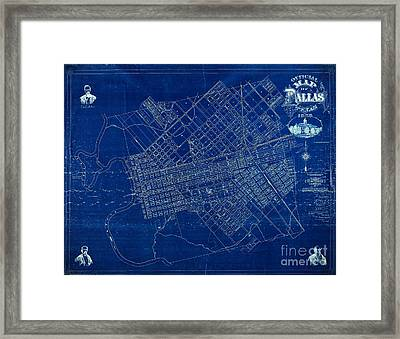 Dallas Texas Official 1875 City Map Blueprint Butterfield And Rundlett Framed Print