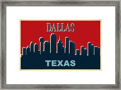 Dallas Texas Pop Art Skyline Poster Framed Print