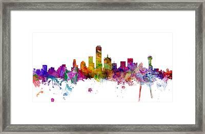 Dallas Texas Skyline Panoramic Framed Print