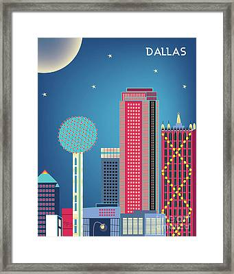 Dallas Texas Vertical Skyline - Nighttime Framed Print by Karen Young