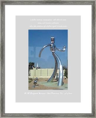 Dallas Tx Statute Thin Tin Man Thru A Window Framed Print by Anthony Benjamin