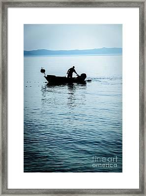 Dalmatian Coast Fisherman Silhouette, Croatia Framed Print
