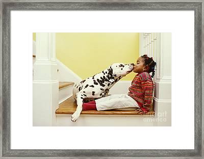 Dalmatian Kissing Girl Framed Print by Margaret Miller