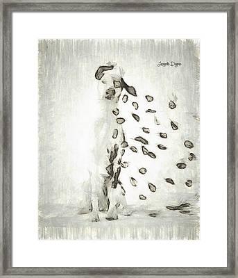 Dalmatian Windy Day - Pa Framed Print by Leonardo Digenio
