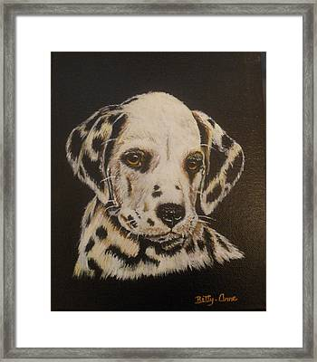 Framed Print featuring the painting Dalmation by Betty-Anne McDonald