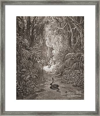 Adam And Eve   Illustration From Paradise Lost By John Milton Framed Print by Gustave Dore