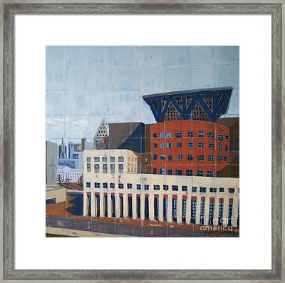 Framed Print featuring the painting Dam Public Library by Erin Fickert-Rowland