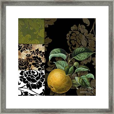 Damask Lerain Pear Framed Print by Mindy Sommers