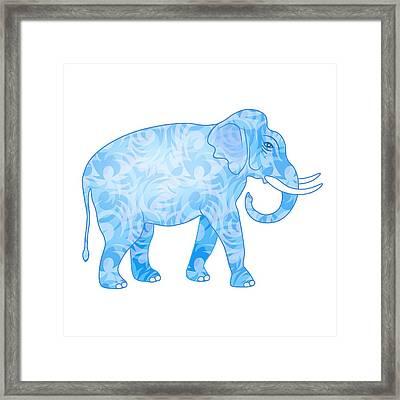 Damask Pattern Elephant Framed Print by Antique Images