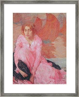 Dame En Rose Framed Print by Edmond Francois Aman Jean