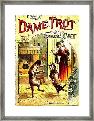 Dame Trot And Her Comical Cat 1890 Framed Print
