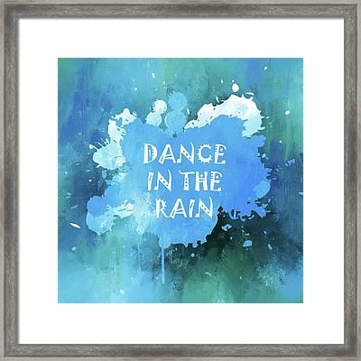Dance In The Rain Cool Blue Framed Print