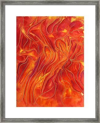 Dance Of Fire Framed Print by Maureen Frank The Mandala Lady