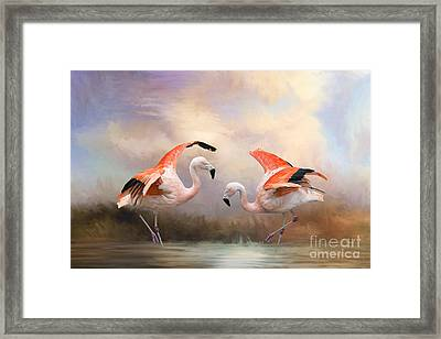 Framed Print featuring the photograph Dance Of The Flamingos  by Bonnie Barry