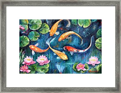 Dance Of The Koi Framed Print by Jennifer Beaudet