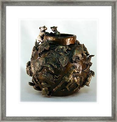 Dance Of The Seasons - Bronze Bowl With Bear Cubs Framed Print by Dawn Senior-Trask