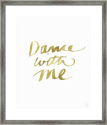 Dance With Me Gold- Art By Linda Woods Framed Print by Linda Woods