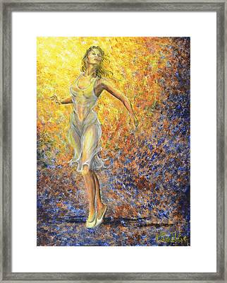 Framed Print featuring the painting Dancer Away by Nik Helbig