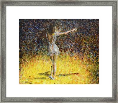 Framed Print featuring the painting Dancer Spotlight by Nik Helbig