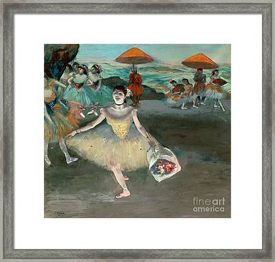 Dancer With Bouquet Framed Print by Edgar Degas