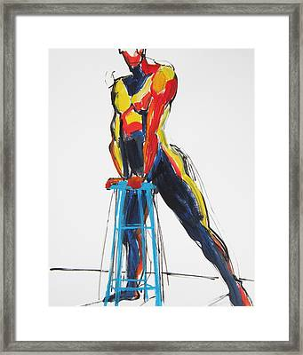 Dancer With Drafting Stool Framed Print