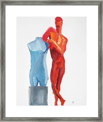 Framed Print featuring the painting Dancer With Mannekin by Shungaboy X