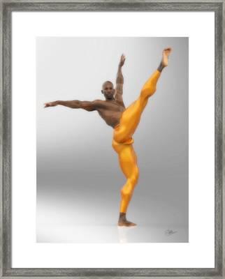 Dancer With Orange Leotards Framed Print by Joaquin Abella
