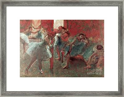Dancers At Rehearsal Framed Print by Edgar Degas