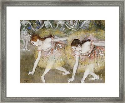 Dancers Bending Down Framed Print